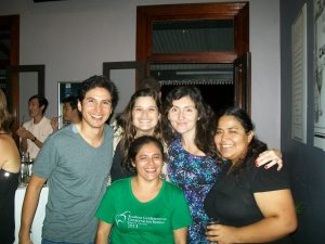 Angela (left) and Xyomara (front, centre) networking with other conservationists