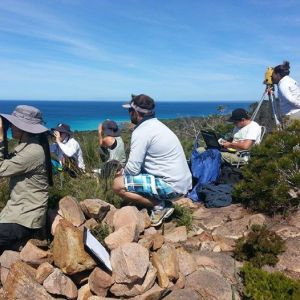 The Curtin University theodolite team tracking whales from their hilltop vantage point in Geographe Bay